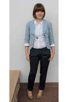 blue Lux blazer - gray Old Navy pants - white Old Navy shirt - beige Forever 21