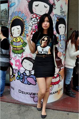black shirt - black Tantease skirt - black Melissa shoes