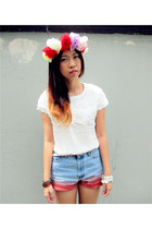 white roses top - light blue diy handmade jeans - accessories