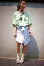 bubble gum shirt - lime green shirt - light blue shirt - beige socks