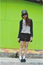 black blazer - heather gray top - black skirt