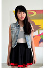 Sky-blue-denim-fos-jacket-white-mesh-top-black-skirt
