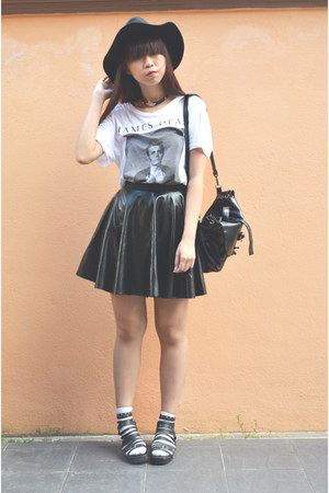 black leather handmade skirt - black H&amp;M hat - white james dean H&amp;M t-shirt