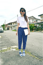 Blue-net-forever-21-socks-white-bag-blue-pants-white-heels-ivory-t-shirt