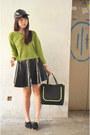 Black-leather-diy-handmade-skirt