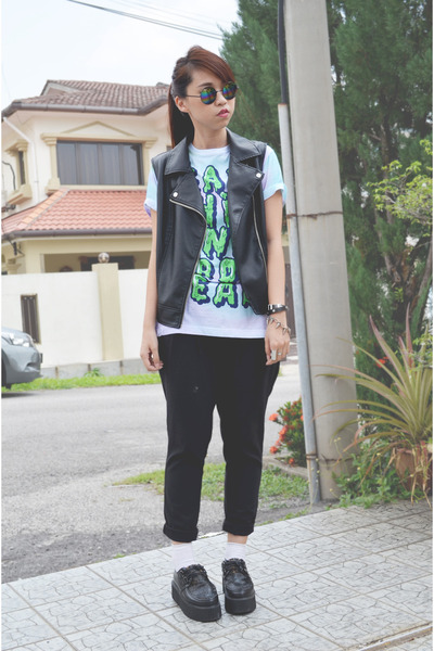 black leather Forever 21 vest - black creeper DIY shoes