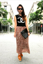 skirt - shoes - clutch bag - chanel logo t-shirt