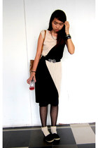 black assymetrical dress - black polka dot tights - tawny bag