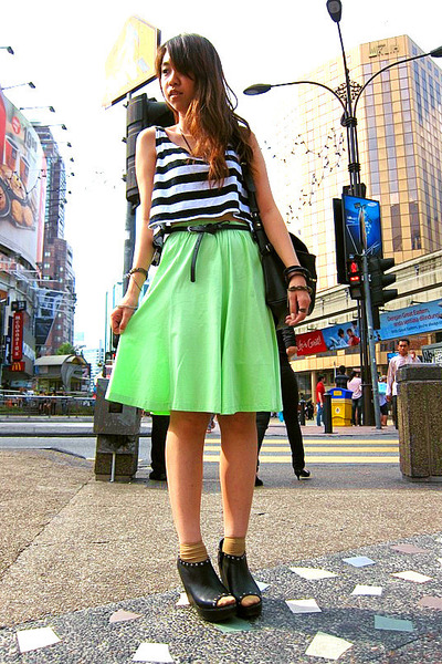 black Mango bag - mustard socks - chartreuse maxi skirt - black peep toe clogs -