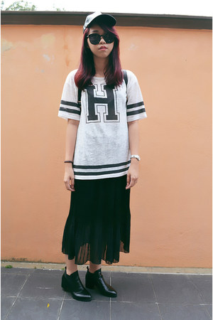 black boots - black random from Bangkok skirt - ivory FOS t-shirt