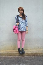 pink pants - black creepers DIY shoes - hot pink bag
