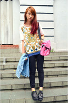 black creepers shoes - hot pink bag - sky blue denim skirt