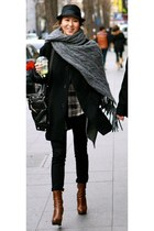 unknown coat - ankle platform Prada boots - skinny jeans Joes Jeans jeans