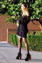 black Jeffrey Campbell boots - white leopard print Miss Sixty dress