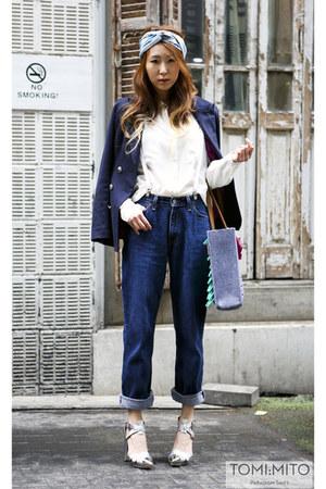 Levis jeans - magnmag shirt - Hermes scarf