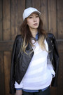 White-leather-unknown-hat-black-miss-sixty-jacket-teal-asos-shorts