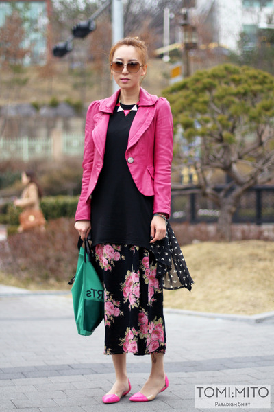 hot pink unknown korean brand jacket - black Dear Stalker dress