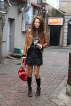 Topshop boots - Muubaa jacket - Jennie & Cailyn purse - H&M skirt - Zara cardiga
