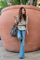 sky blue Genetic Denim jeans - dark brown Chloe bag - Tom Ford sunglasses - liqu