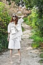 white leather hat hat - off white mesh pocket J Koo shirt - white J Koo shorts