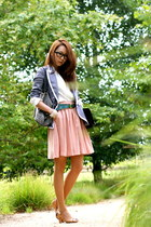 heather gray Soup blazer - black Clementine purse - white vintage blouse - pink
