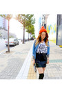 Black-leather-old-navy-skirt-carrot-orange-beanie-unknown-hat