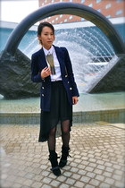 black Modern Vintage boots - navy unknown blazer - white H&M shirt