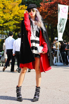 red Yuna Yang jacket - black metal harness Jeffrey Campbell boots
