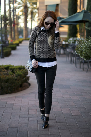 black wool Club Monaco sweater - black smile market jeans - white H&M shirt