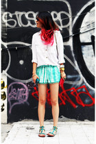 aquamarine tie dye Zara shorts - white H&M shirt