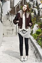 crimson bomber jacket CRES E DIM jacket - beige Zara sweater