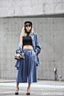 Sky-blue-oversized-denim-jkoo-shirt-black-255-reissue-chanel-bag