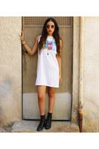 denim shirt H&M shirt - military new look boots - white dress Joya dress