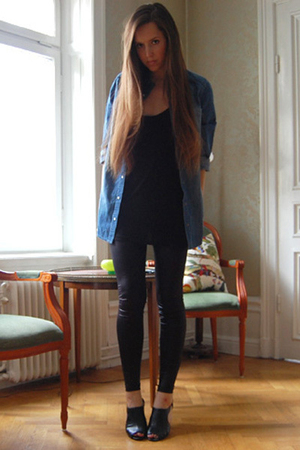 GINA TRICOT shirt - acne top - Topshop leggings - Din Sko shoes