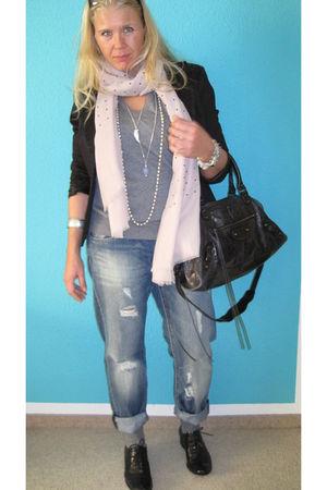 black blazer - gray Mango shirt - pink Zara scarf - H&M jeans - black balenciaga