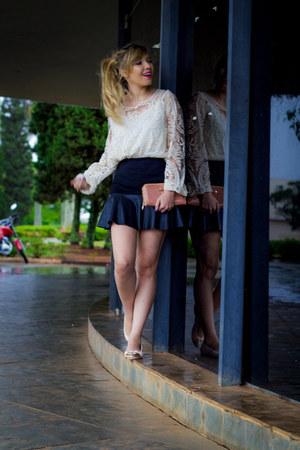 renda blouse - bag - couro skirt