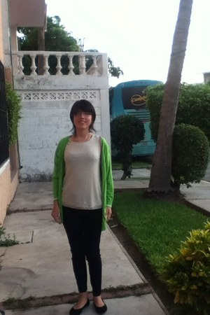 green hollister sweater - black Westies shoes - gray pants - ivory blouse