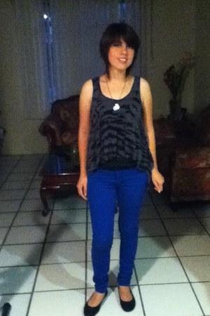 blue jeans - black Nine West flats