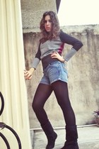black boots - gray pink sweater - black tights - jeans shorts shorts