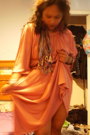 pink Sleepwalker LA dress - purple scarf - purple earrings - black necklace