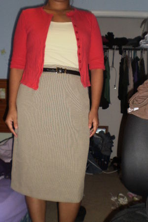 red thrifted cardigan - yellow Gap blouse - brown thrifted skirt - beige - black