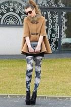 camel Sheinside coat - black boots