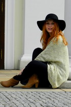 black reserved hat - camel CCC boots - lime green OASAP sweater