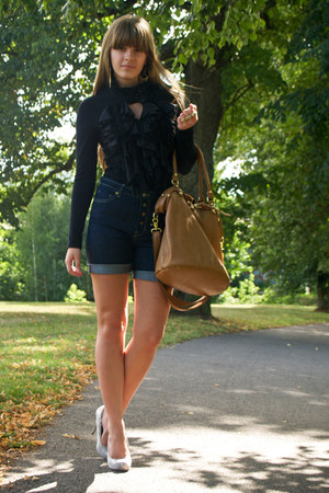 blue Mango shorts - bronze Monton bag - black clubL blouse - gold heels