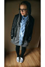 Gray-shoes-black-leggings-gray-dress-black-jacket-blue-scarf-black-gla