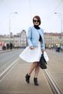 Sky-blue-zara-jacket-white-reserved-skirt