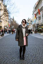 bubble gum Zara skirt - charcoal gray lindex coat