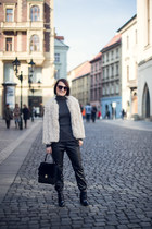 cream coat - gray sweater - black pants