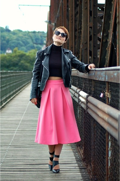 bubble gum asos skirt - black Mango jacket - black Zara top