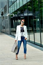 blue Mango jeans - cream Mango blazer - white Mango t-shirt